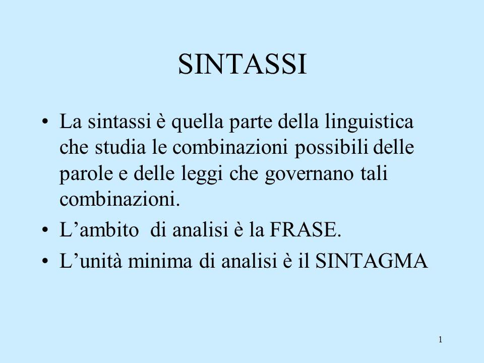 1 SINTASSI La sintassi è quella parte della linguistica che studia le combinazioni possibili delle parole e delle leggi che governano tali combinazion