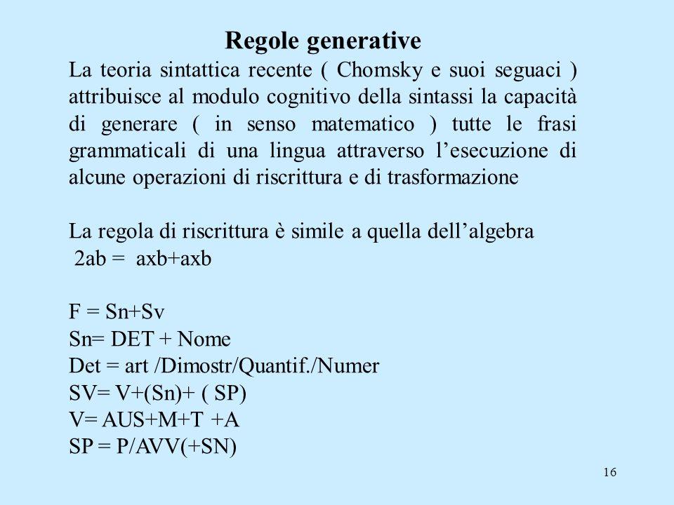 16 Regole generative La teoria sintattica recente ( Chomsky e suoi seguaci ) attribuisce al modulo cognitivo della sintassi la capacità di generare (