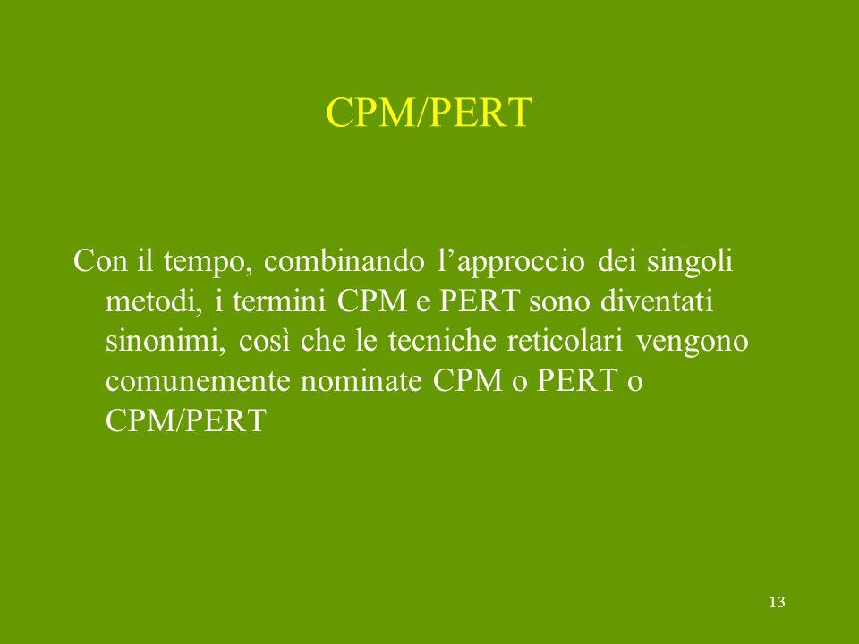 13 CPM/PERT Con il tempo, combinando lapproccio dei singoli metodi, i termini CPM e PERT sono diventati sinonimi, così che le tecniche reticolari veng