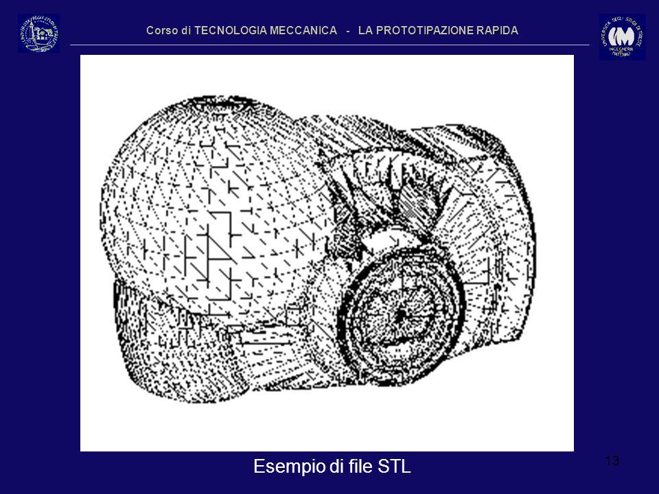 13 Corso di TECNOLOGIA MECCANICA - LA PROTOTIPAZIONE RAPIDA Esempio di file STL