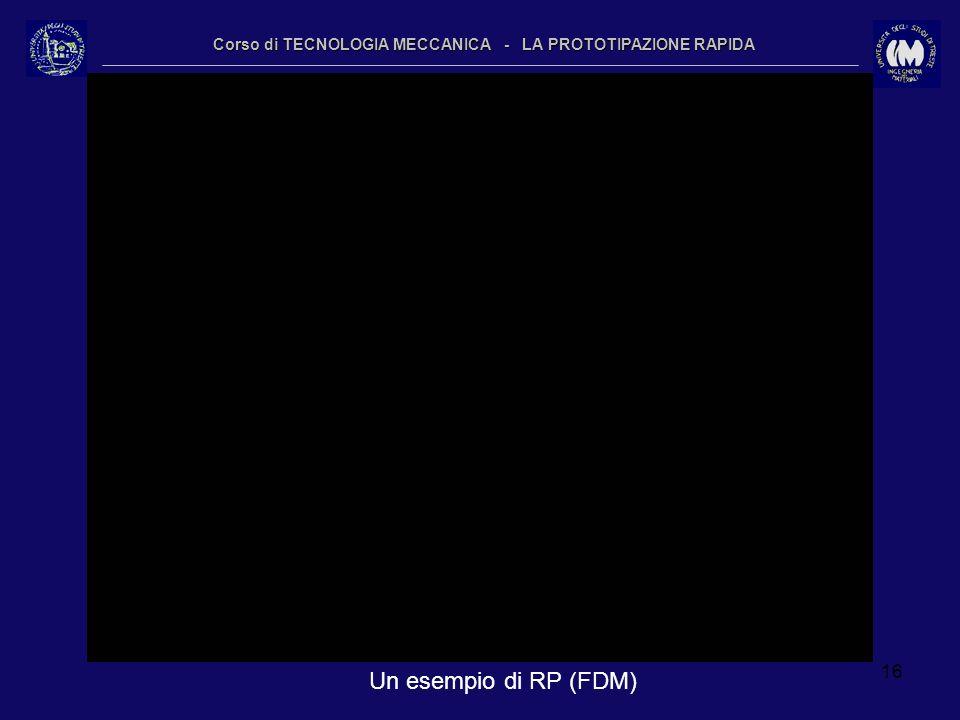 16 Corso di TECNOLOGIA MECCANICA - LA PROTOTIPAZIONE RAPIDA Un esempio di RP (FDM)