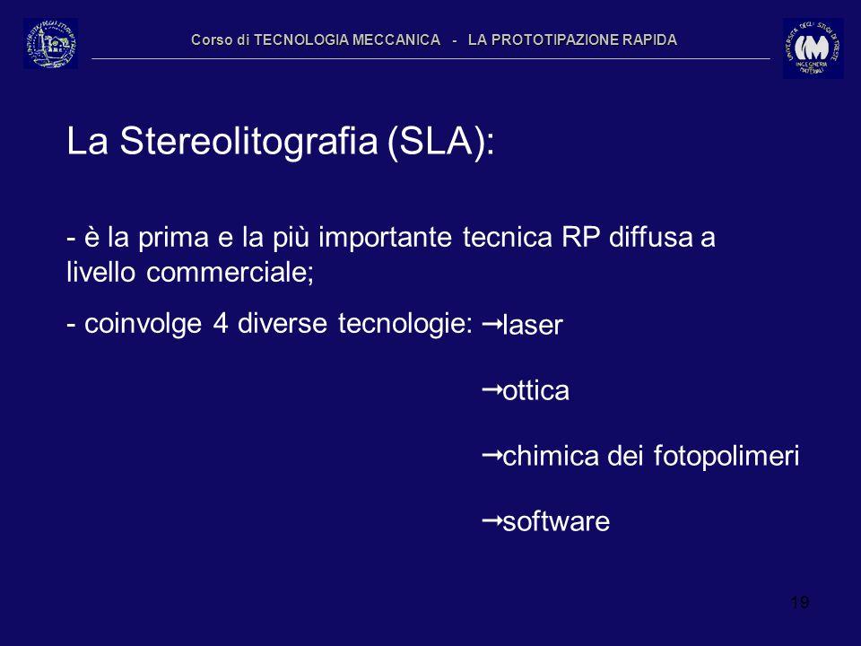 19 Corso di TECNOLOGIA MECCANICA - LA PROTOTIPAZIONE RAPIDA La Stereolitografia (SLA): - è la prima e la più importante tecnica RP diffusa a livello c