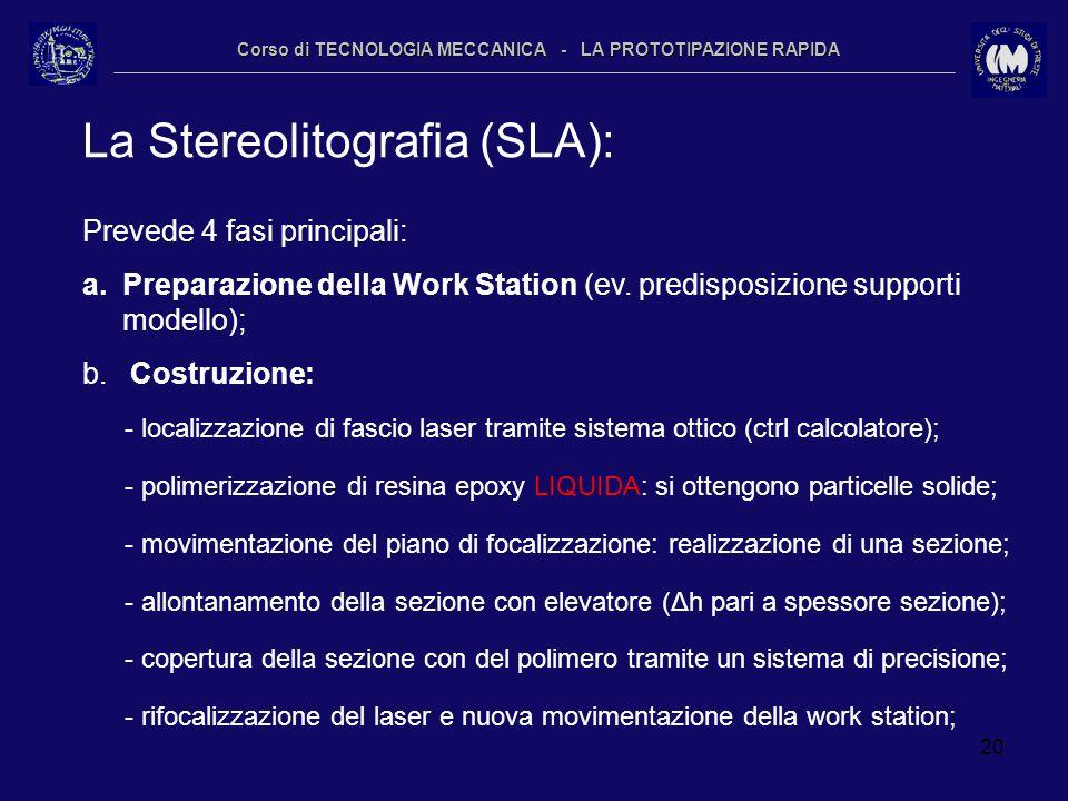 20 Corso di TECNOLOGIA MECCANICA - LA PROTOTIPAZIONE RAPIDA La Stereolitografia (SLA): Prevede 4 fasi principali: a.Preparazione della Work Station (e