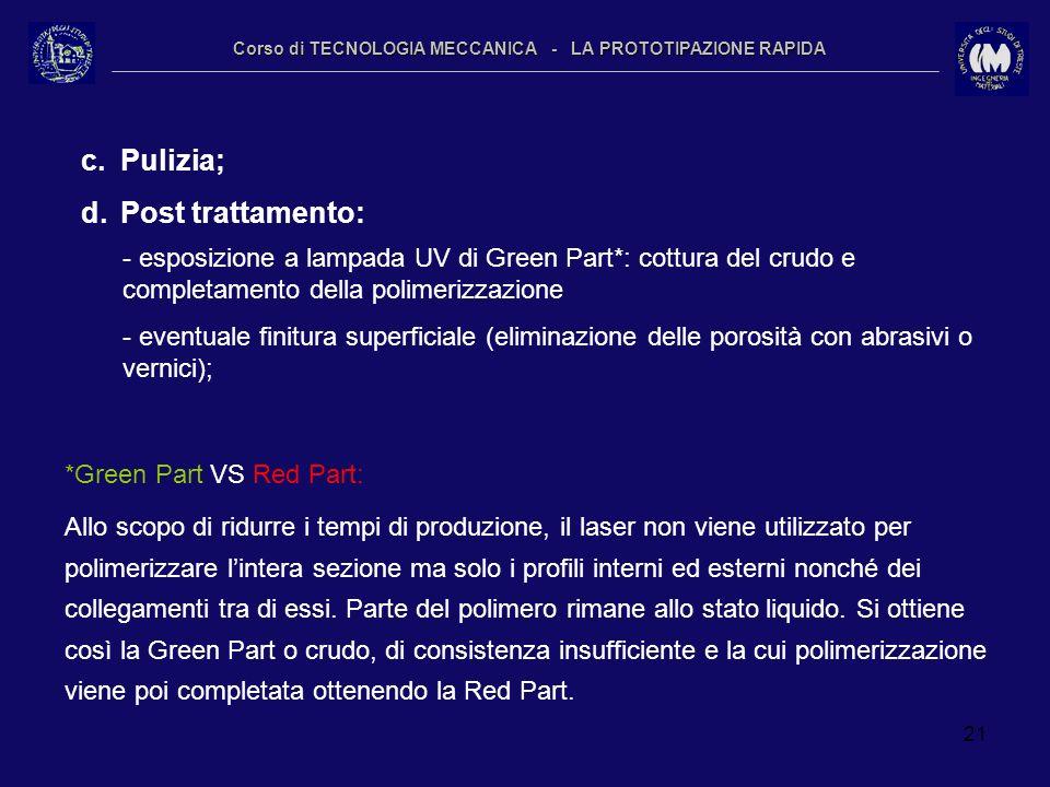 21 Corso di TECNOLOGIA MECCANICA - LA PROTOTIPAZIONE RAPIDA c.Pulizia; d.Post trattamento: - esposizione a lampada UV di Green Part*: cottura del crud