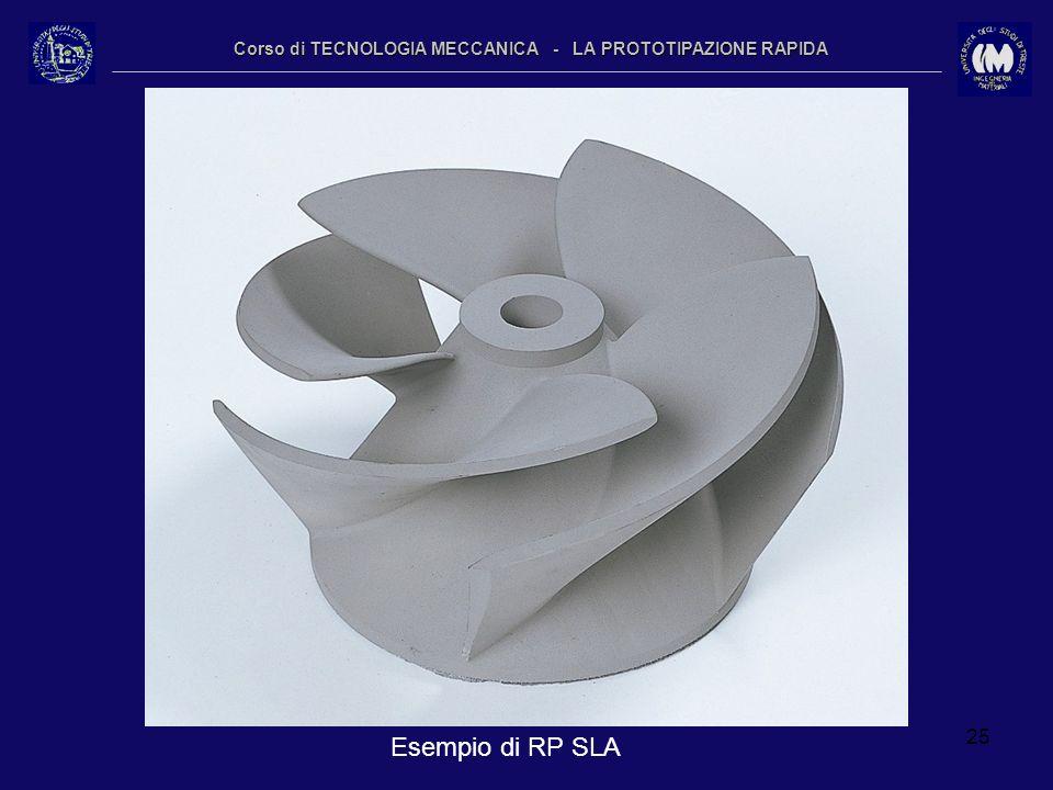 25 Corso di TECNOLOGIA MECCANICA - LA PROTOTIPAZIONE RAPIDA Esempio di RP SLA