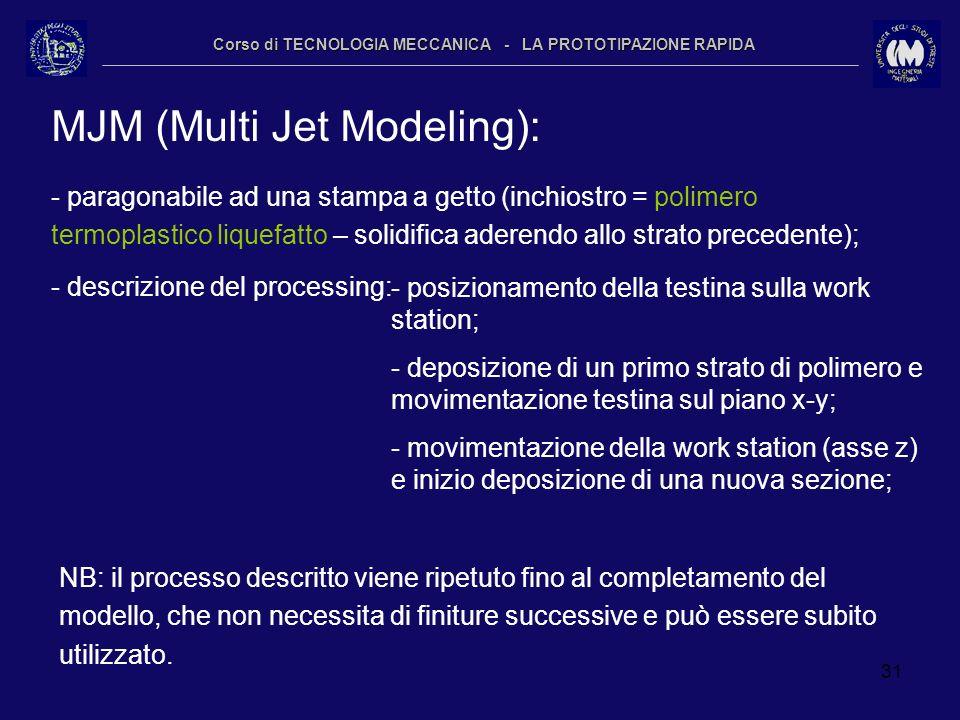 31 Corso di TECNOLOGIA MECCANICA - LA PROTOTIPAZIONE RAPIDA MJM (Multi Jet Modeling): - paragonabile ad una stampa a getto (inchiostro = polimero term