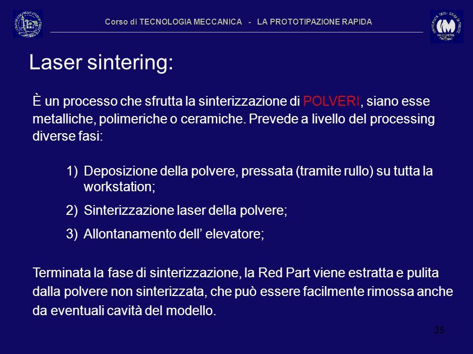 35 Corso di TECNOLOGIA MECCANICA - LA PROTOTIPAZIONE RAPIDA Laser sintering: È un processo che sfrutta la sinterizzazione di POLVERI, siano esse metal