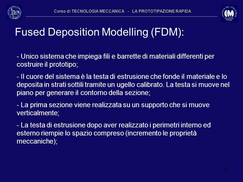 41 Corso di TECNOLOGIA MECCANICA - LA PROTOTIPAZIONE RAPIDA Fused Deposition Modelling (FDM): - Unico sistema che impiega fili e barrette di materiali