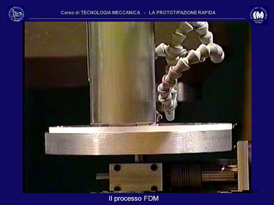 43 Corso di TECNOLOGIA MECCANICA - LA PROTOTIPAZIONE RAPIDA Il processo FDM