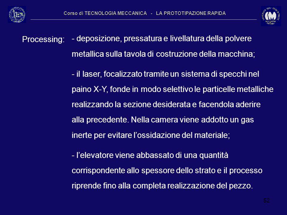 52 Corso di TECNOLOGIA MECCANICA - LA PROTOTIPAZIONE RAPIDA Processing: - deposizione, pressatura e livellatura della polvere metallica sulla tavola d
