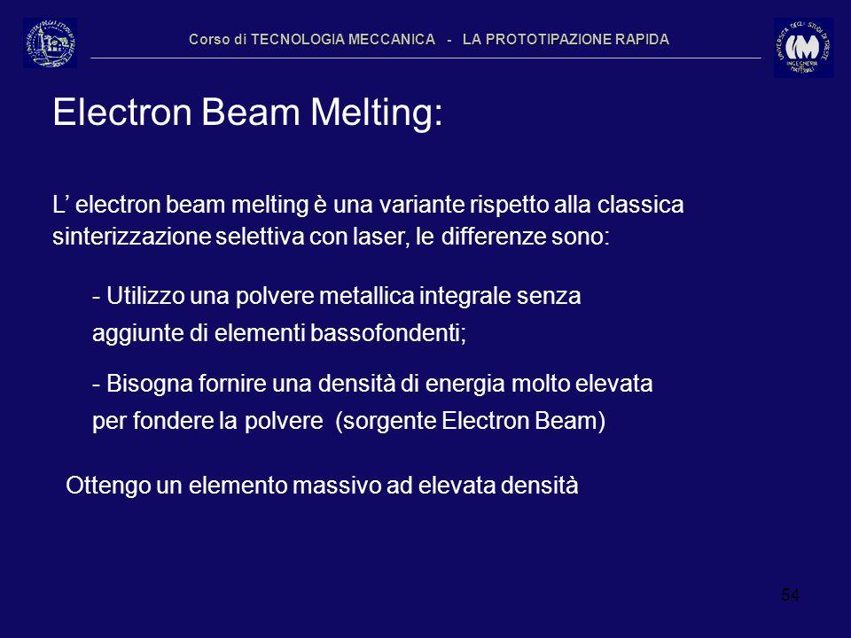 54 Corso di TECNOLOGIA MECCANICA - LA PROTOTIPAZIONE RAPIDA Electron Beam Melting: L electron beam melting è una variante rispetto alla classica sinte