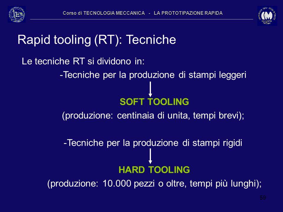 59 Corso di TECNOLOGIA MECCANICA - LA PROTOTIPAZIONE RAPIDA Rapid tooling (RT): Tecniche Le tecniche RT si dividono in: -Tecniche per la produzione di