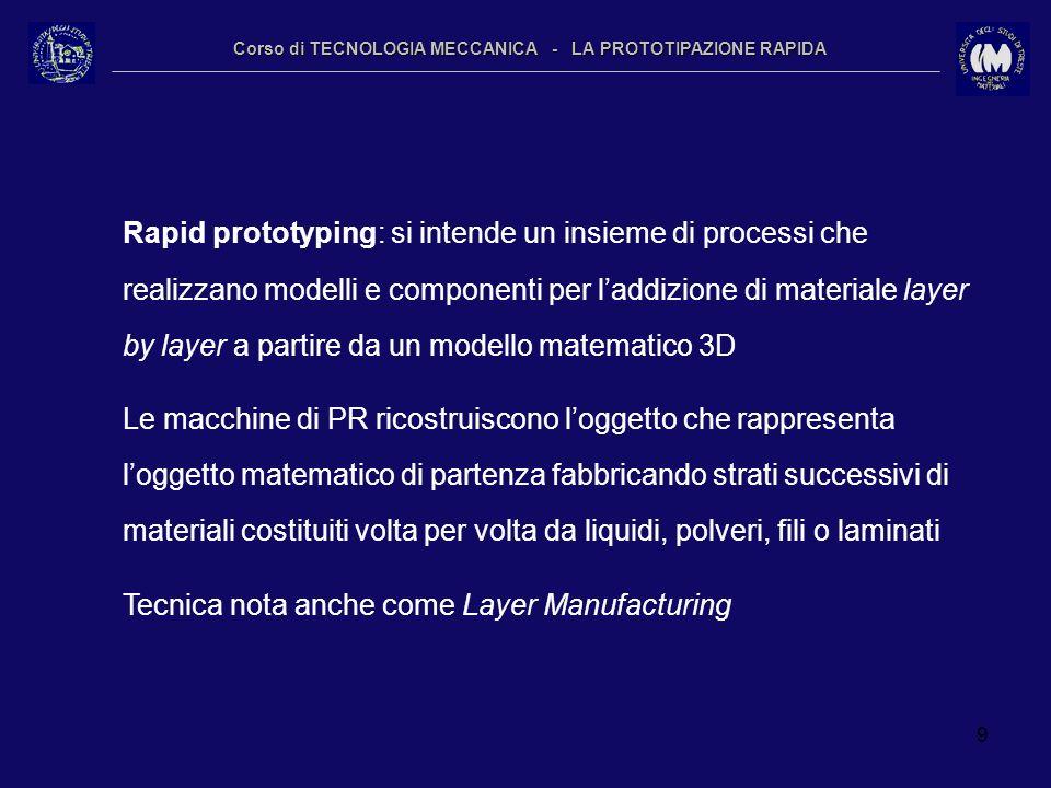 9 Corso di TECNOLOGIA MECCANICA - LA PROTOTIPAZIONE RAPIDA Rapid prototyping: si intende un insieme di processi che realizzano modelli e componenti pe