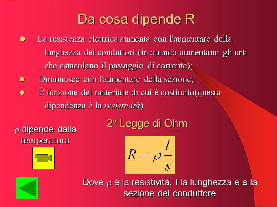 Da cosa dipende R La resistenza elettrica aumenta con l'aumentare della La resistenza elettrica aumenta con l'aumentare della lunghezza dei conduttori