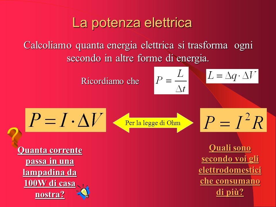 La potenza elettrica Calcoliamo quanta energia elettrica si trasforma ogni secondo in altre forme di energia. Per la legge di Ohm Quanta corrente pass