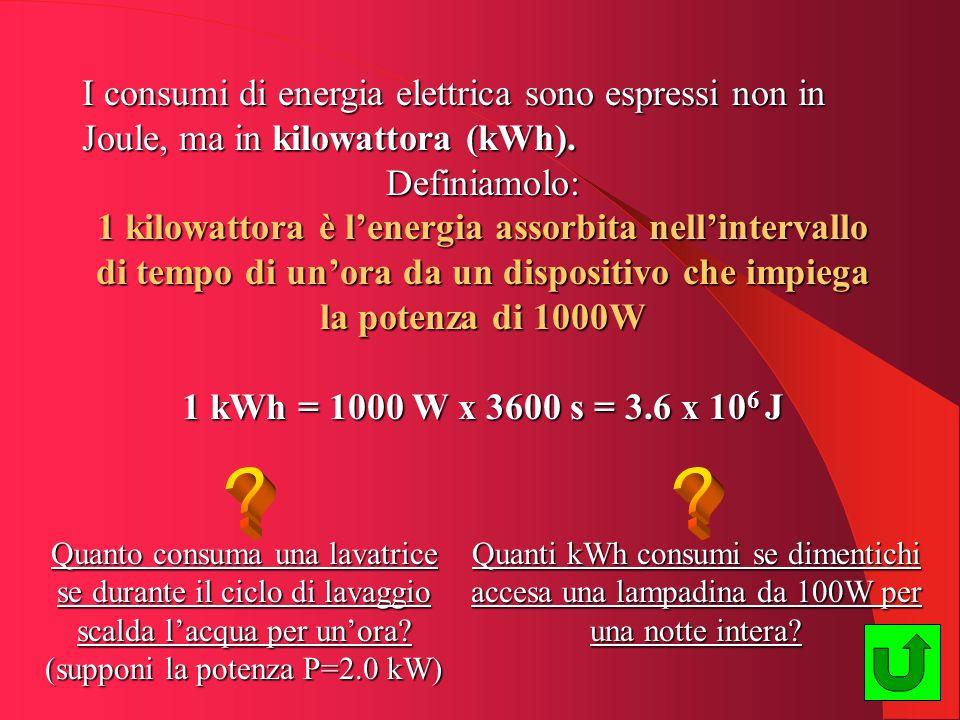 I consumi di energia elettrica sono espressi non in Joule, ma in kilowattora (kWh). Definiamolo: 1 kilowattora è lenergia assorbita nellintervallo di