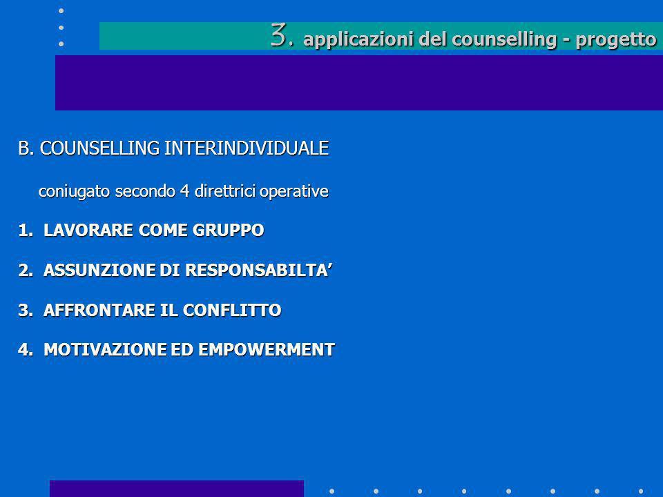 3. applicazioni del counselling - progetto B. COUNSELLING INTERINDIVIDUALE coniugato secondo 4 direttrici operative coniugato secondo 4 direttrici ope