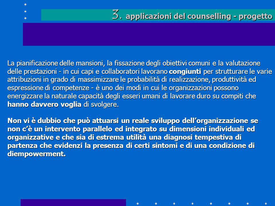 3. applicazioni del counselling - progetto La pianificazione delle mansioni, la fissazione degli obiettivi comuni e la valutazione delle prestazioni -