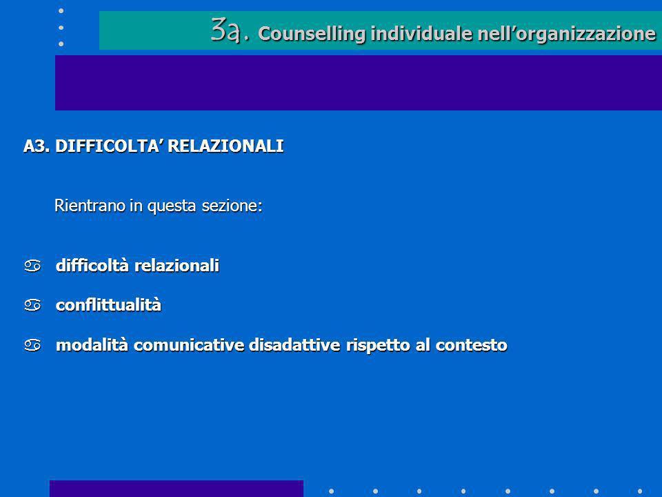 3a. Counselling individuale nellorganizzazione 3a. Counselling individuale nellorganizzazione A3. DIFFICOLTA RELAZIONALI Rientrano in questa sezione: