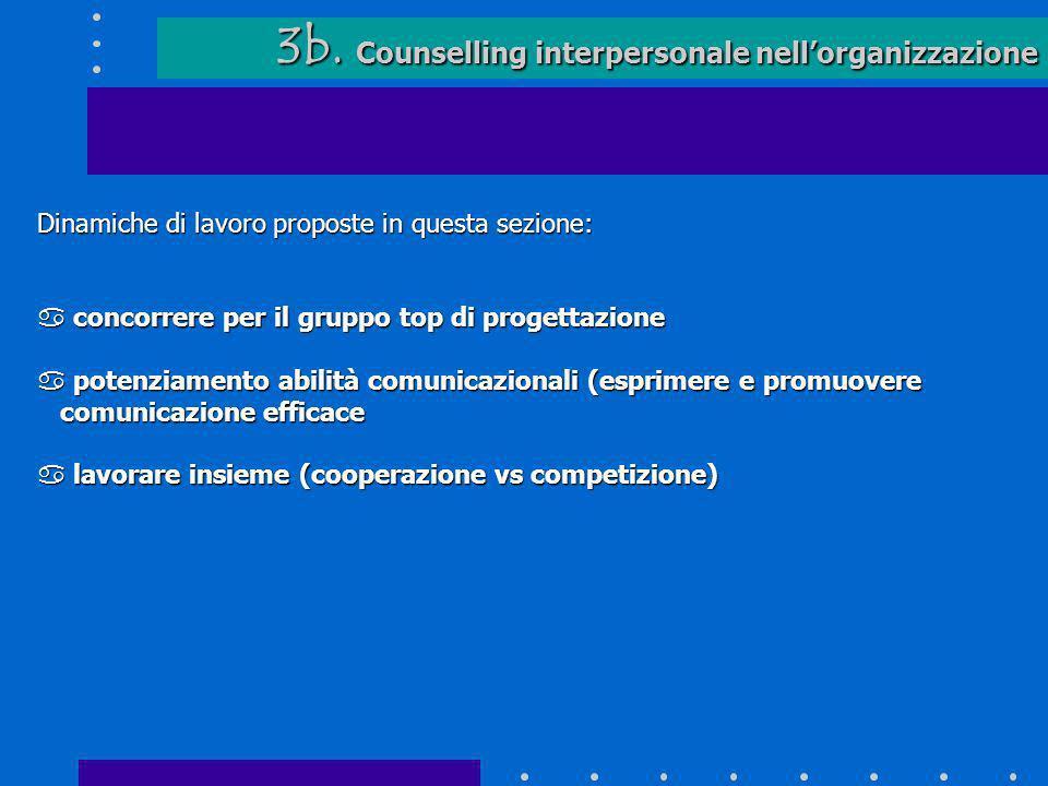 3b. Counselling interpersonale nellorganizzazione 3b. Counselling interpersonale nellorganizzazione Dinamiche di lavoro proposte in questa sezione: a