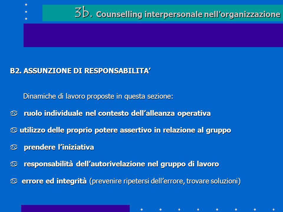 3b. Counselling interpersonale nellorganizzazione 3b. Counselling interpersonale nellorganizzazione B2. ASSUNZIONE DI RESPONSABILITA Dinamiche di lavo