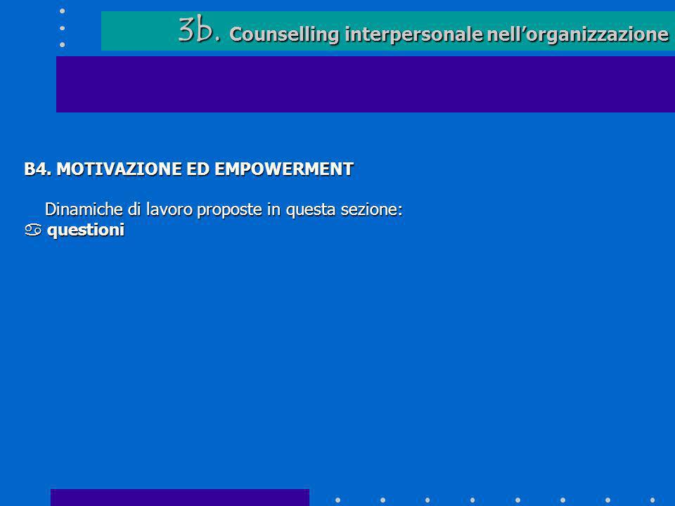 3b. Counselling interpersonale nellorganizzazione 3b. Counselling interpersonale nellorganizzazione B4. MOTIVAZIONE ED EMPOWERMENT Dinamiche di lavoro
