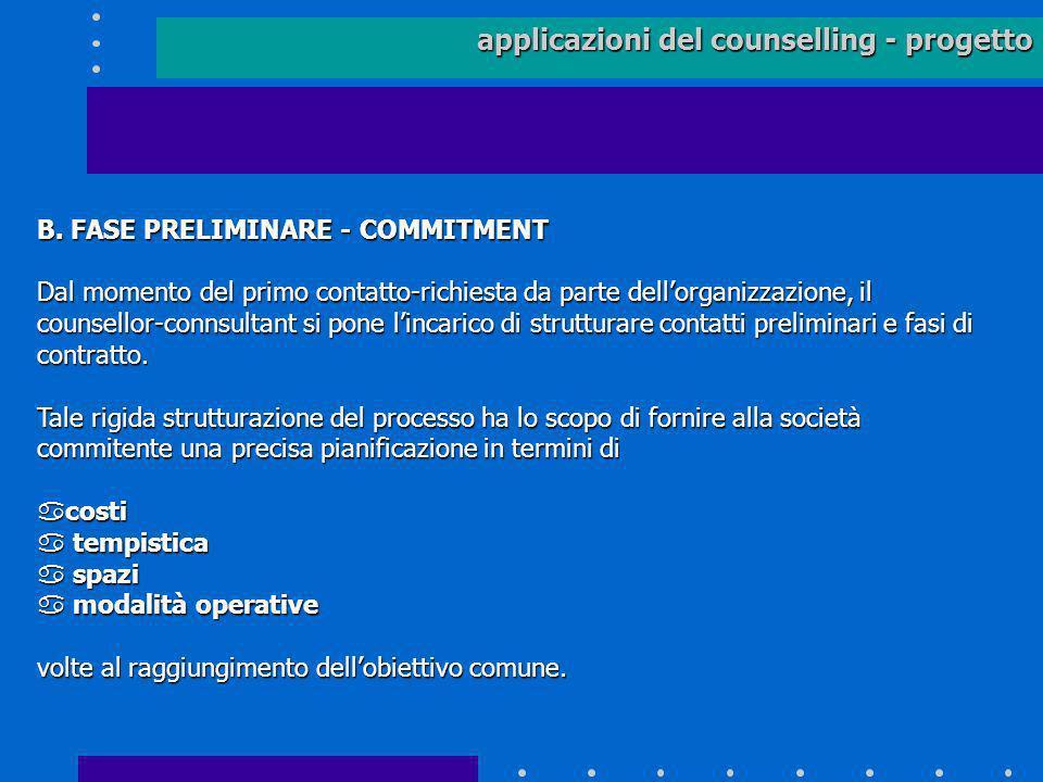applicazioni del counselling - progetto B. FASE PRELIMINARE - COMMITMENT Dal momento del primo contatto-richiesta da parte dellorganizzazione, il coun