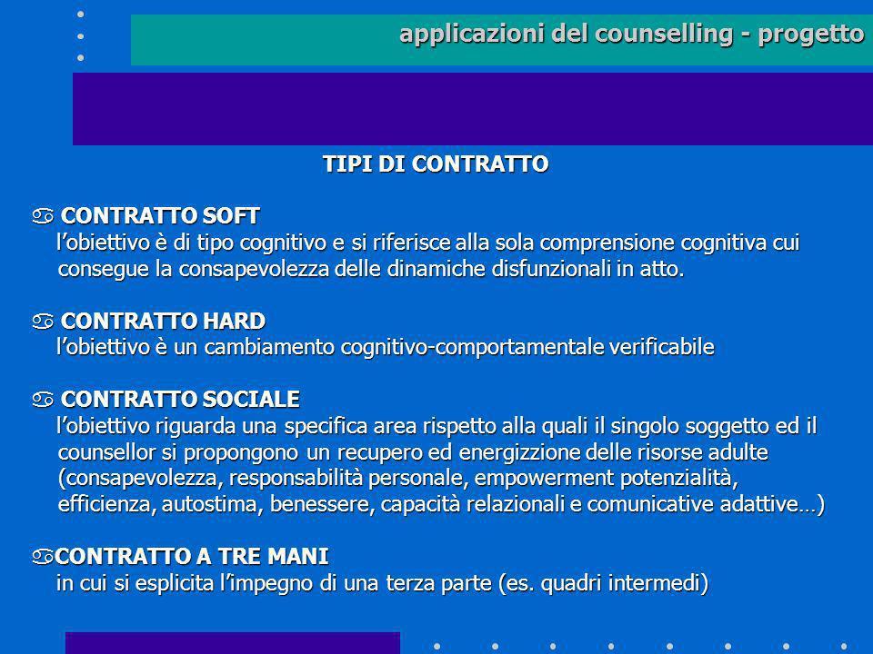 applicazioni del counselling - progetto TIPI DI CONTRATTO TIPI DI CONTRATTO a CONTRATTO SOFT lobiettivo è di tipo cognitivo e si riferisce alla sola c