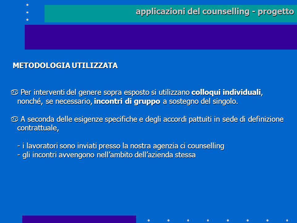 applicazioni del counselling - progetto METODOLOGIA UTILIZZATA METODOLOGIA UTILIZZATA a Per interventi del genere sopra esposto si utilizzano colloqui