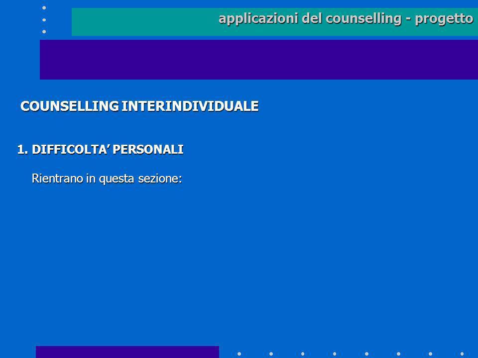 applicazioni del counselling - progetto COUNSELLING INTERINDIVIDUALE COUNSELLING INTERINDIVIDUALE 1. DIFFICOLTA PERSONALI Rientrano in questa sezione: