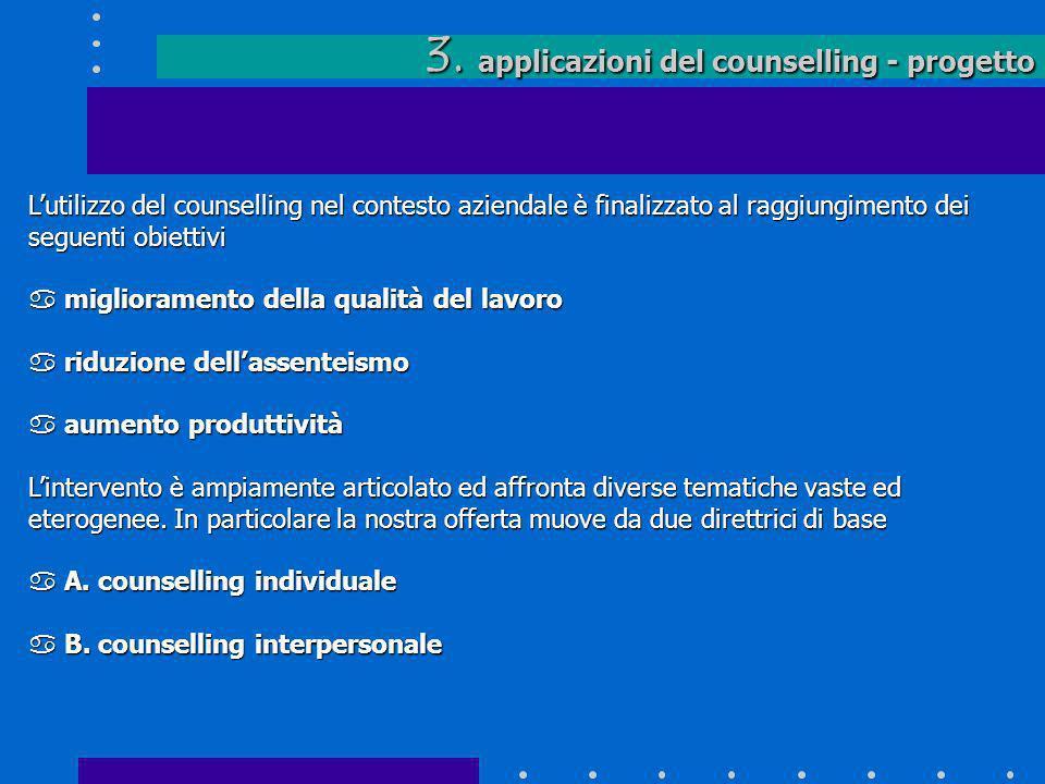 3. applicazioni del counselling - progetto Lutilizzo del counselling nel contesto aziendale è finalizzato al raggiungimento dei seguenti obiettivi a m