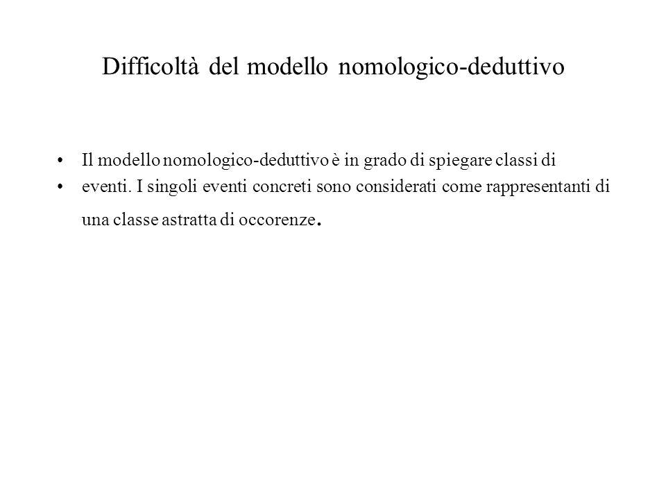 Difficoltà del modello nomologico-deduttivo Il modello nomologico-deduttivo è in grado di spiegare classi di eventi.