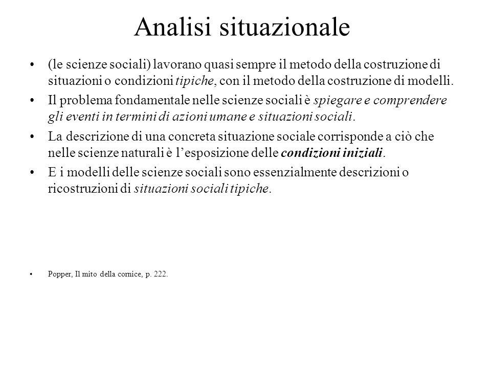 Analisi situazionale (le scienze sociali) lavorano quasi sempre il metodo della costruzione di situazioni o condizioni tipiche, con il metodo della costruzione di modelli.
