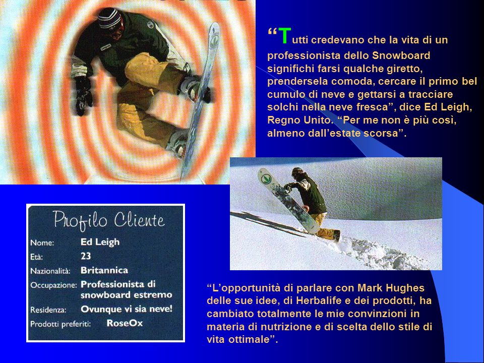 T utti credevano che la vita di un professionista dello Snowboard significhi farsi qualche giretto, prendersela comoda, cercare il primo bel cumulo di