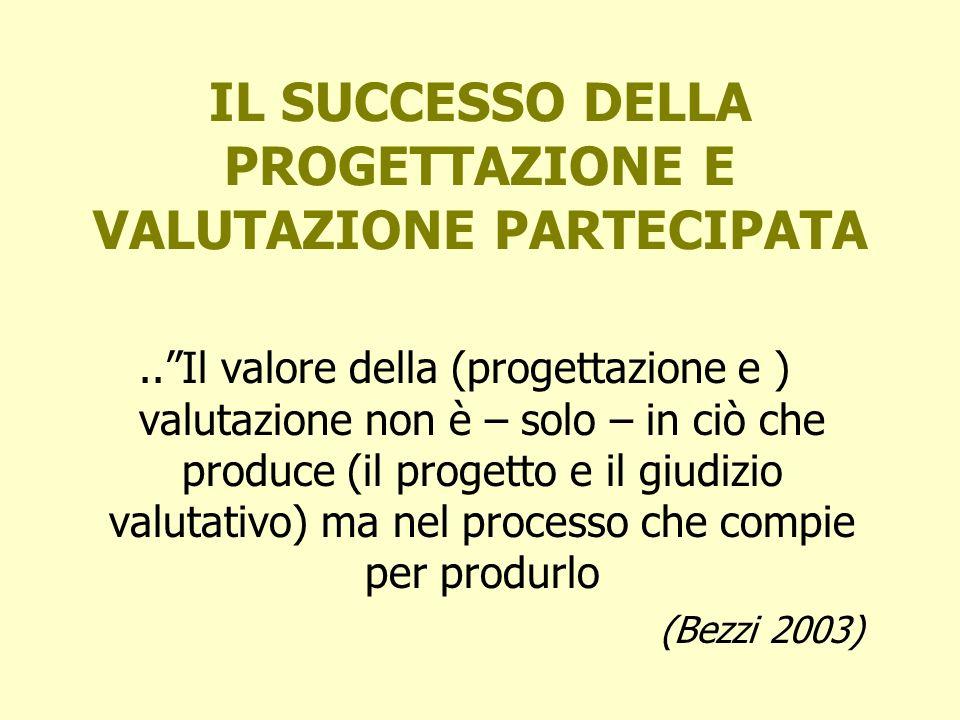 IL SUCCESSO DELLA PROGETTAZIONE E VALUTAZIONE PARTECIPATA..Il valore della (progettazione e ) valutazione non è – solo – in ciò che produce (il proget