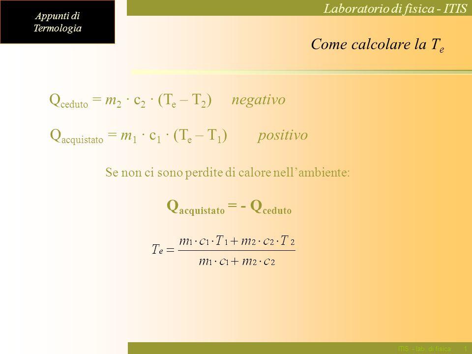 Appunti di Termologia Laboratorio di fisica - ITIS ITIS - lab. di fisica12 Come calcolare la T e Q ceduto = m 2 · c 2 · (T e – T 2 ) negativo Q acquis