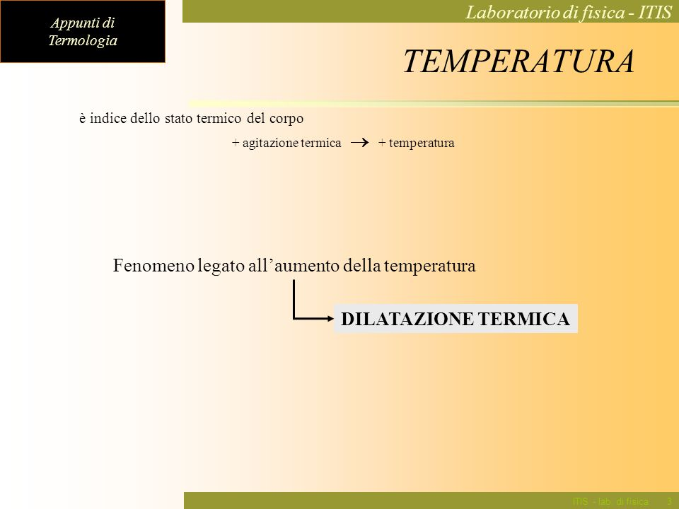 Appunti di Termologia Laboratorio di fisica - ITIS ITIS - lab. di fisica3 è indice dello stato termico del corpo + agitazione termica + temperatura Fe