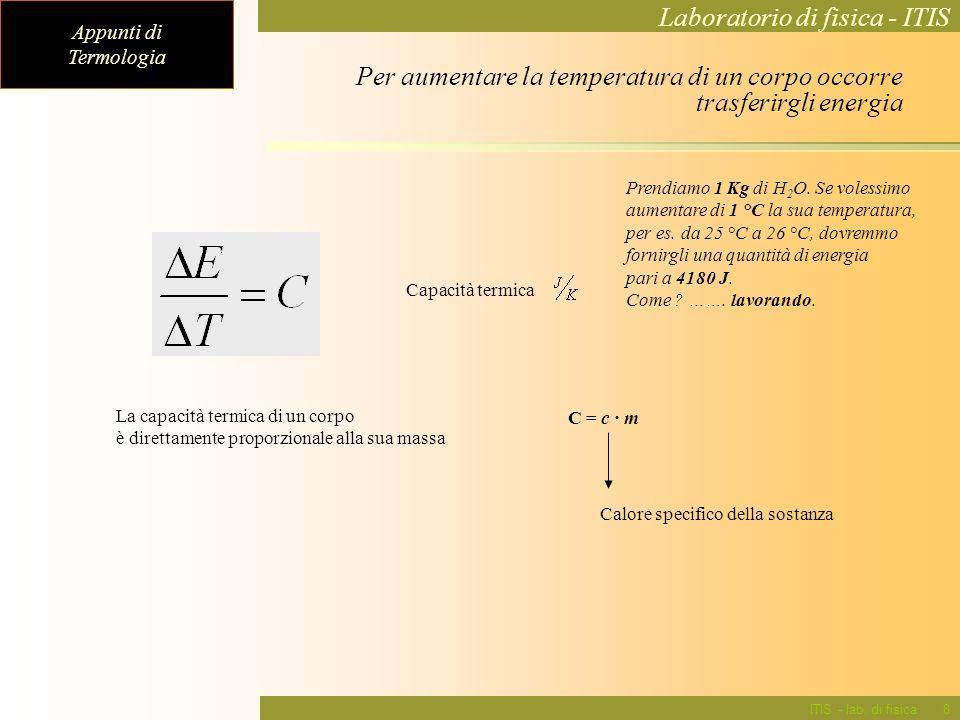 Appunti di Termologia Laboratorio di fisica - ITIS ITIS - lab. di fisica8 Prendiamo 1 Kg di H 2 O. Se volessimo aumentare di 1 °C la sua temperatura,
