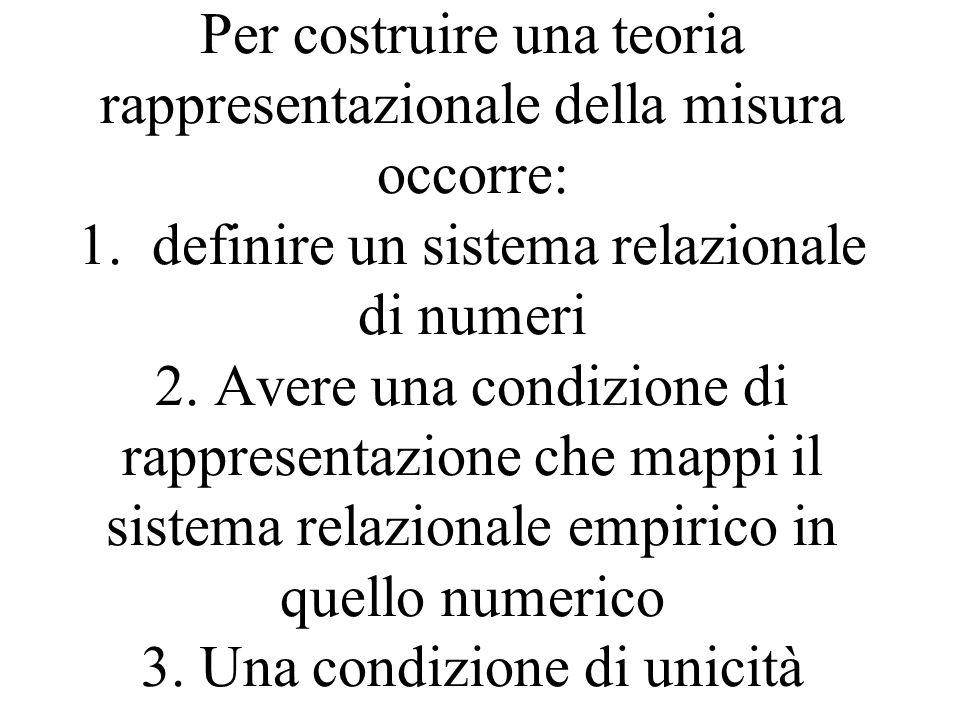 Per costruire una teoria rappresentazionale della misura occorre: 1. definire un sistema relazionale di numeri 2. Avere una condizione di rappresentaz