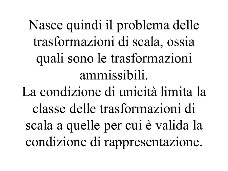Nasce quindi il problema delle trasformazioni di scala, ossia quali sono le trasformazioni ammissibili. La condizione di unicità limita la classe dell