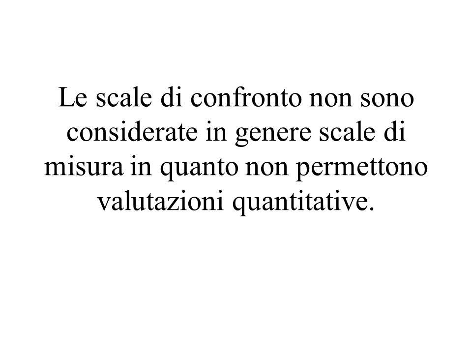 Le scale di confronto non sono considerate in genere scale di misura in quanto non permettono valutazioni quantitative.