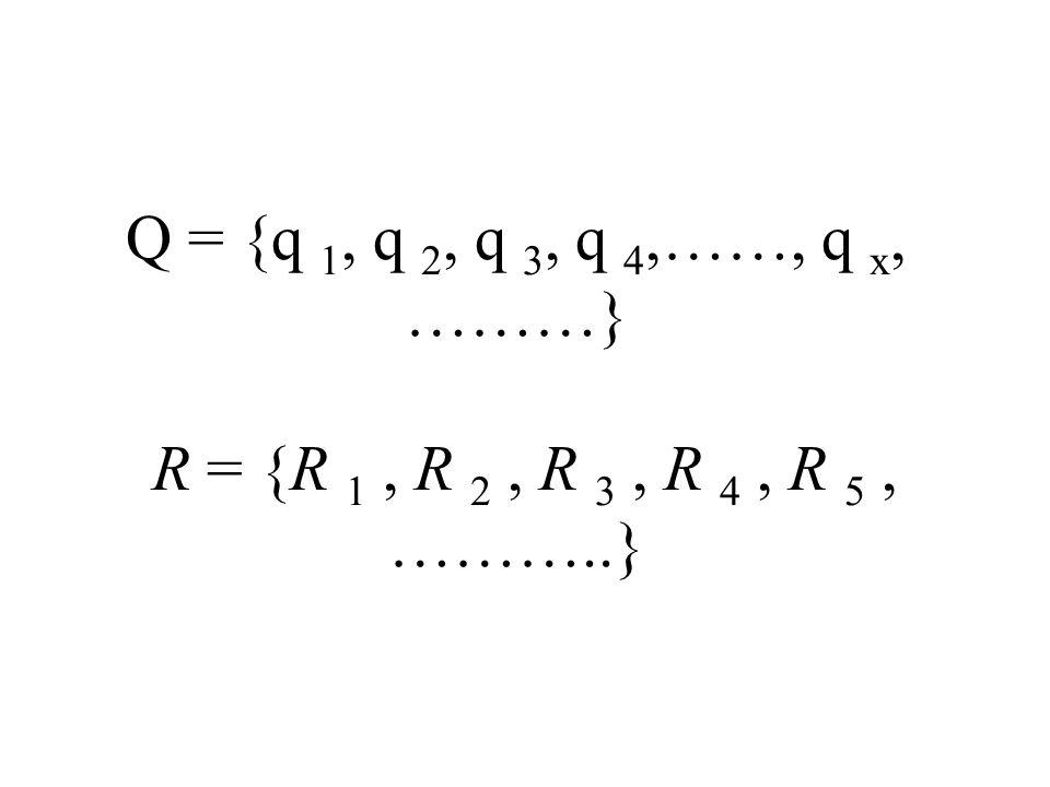 Q = {q 1, q 2, q 3, q 4,……, q x, ………} R = {R 1, R 2, R 3, R 4, R 5, ………..}