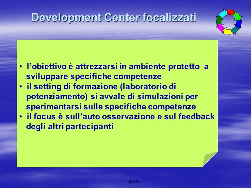 13 (16) lobiettivo è attrezzarsi in ambiente protetto a sviluppare specifiche competenze il setting di formazione (laboratorio di potenziamento) si av