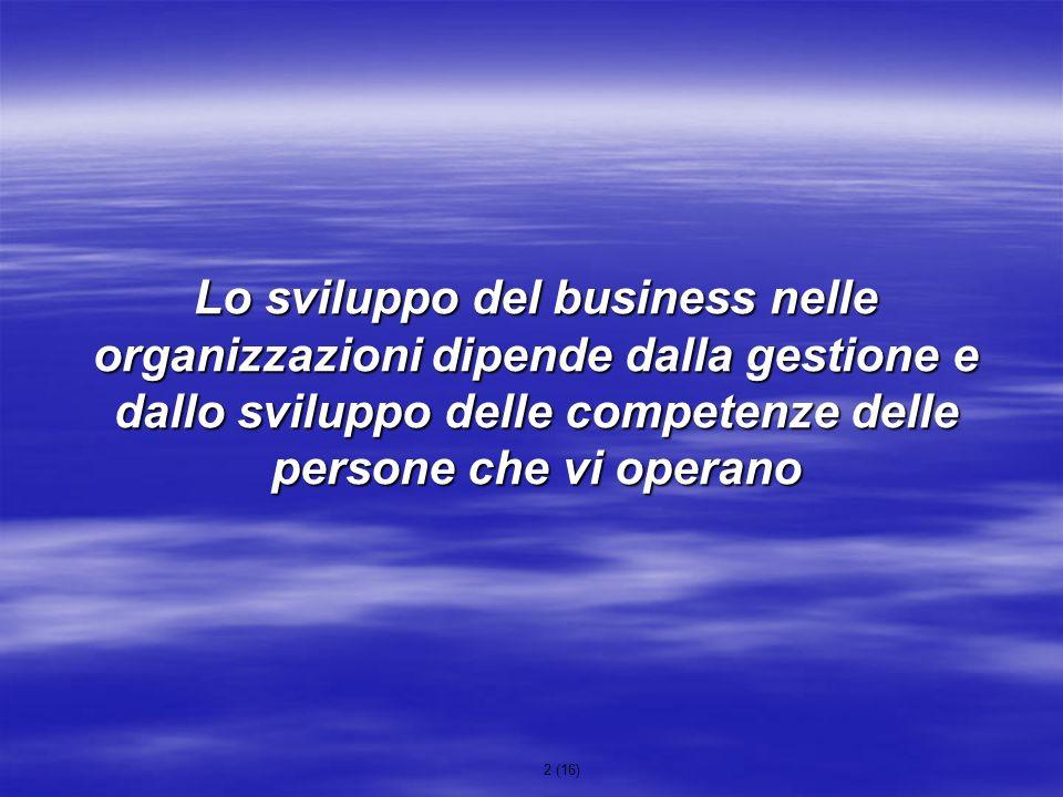 2 (16) Lo sviluppo del business nelle organizzazioni dipende dalla gestione e dallo sviluppo delle competenze delle persone che vi operano