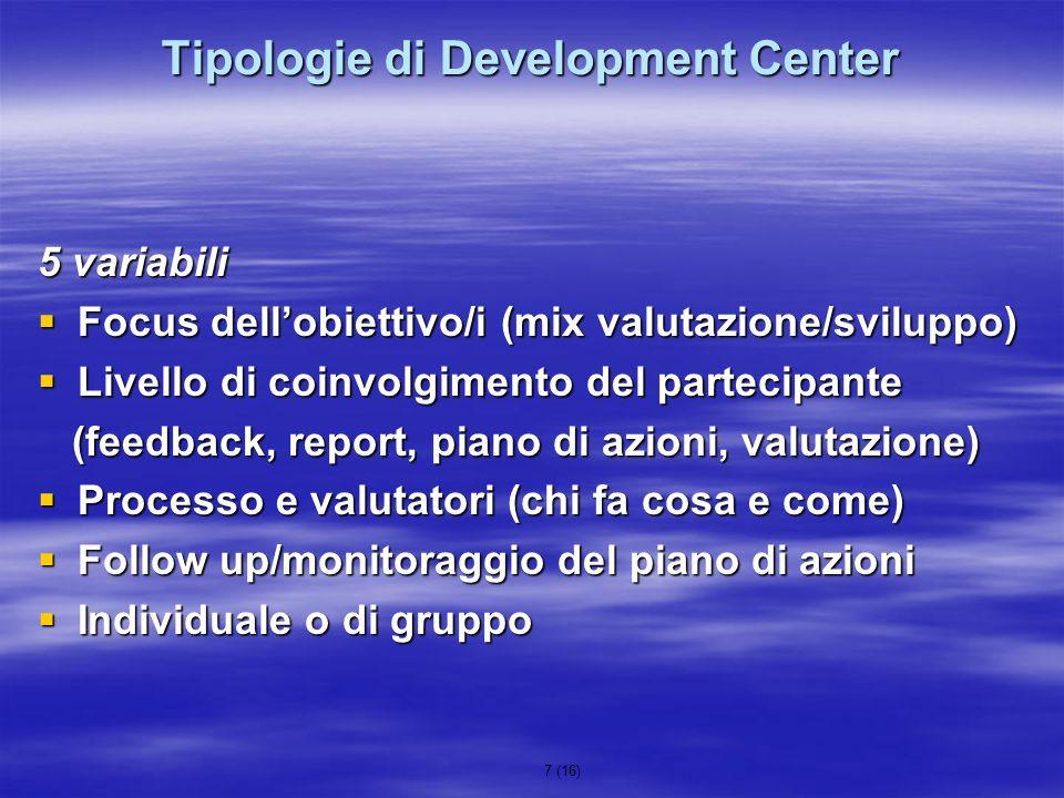 7 (16) Tipologie di Development Center 5 variabili Focus dellobiettivo/i (mix valutazione/sviluppo) Focus dellobiettivo/i (mix valutazione/sviluppo) L