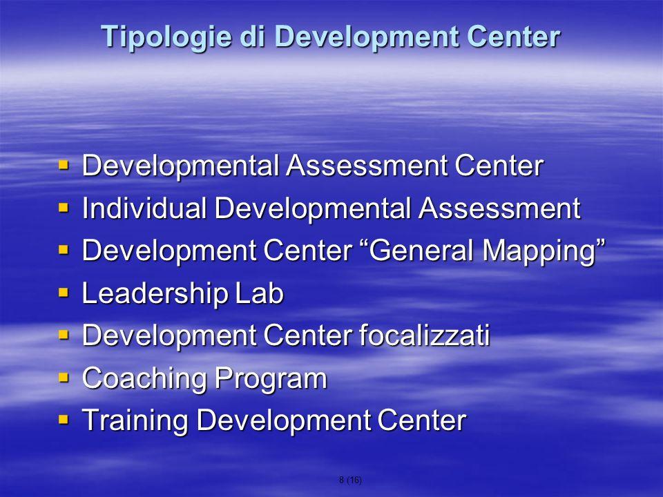 8 (16) Tipologie di Development Center Developmental Assessment Center Developmental Assessment Center Individual Developmental Assessment Individual