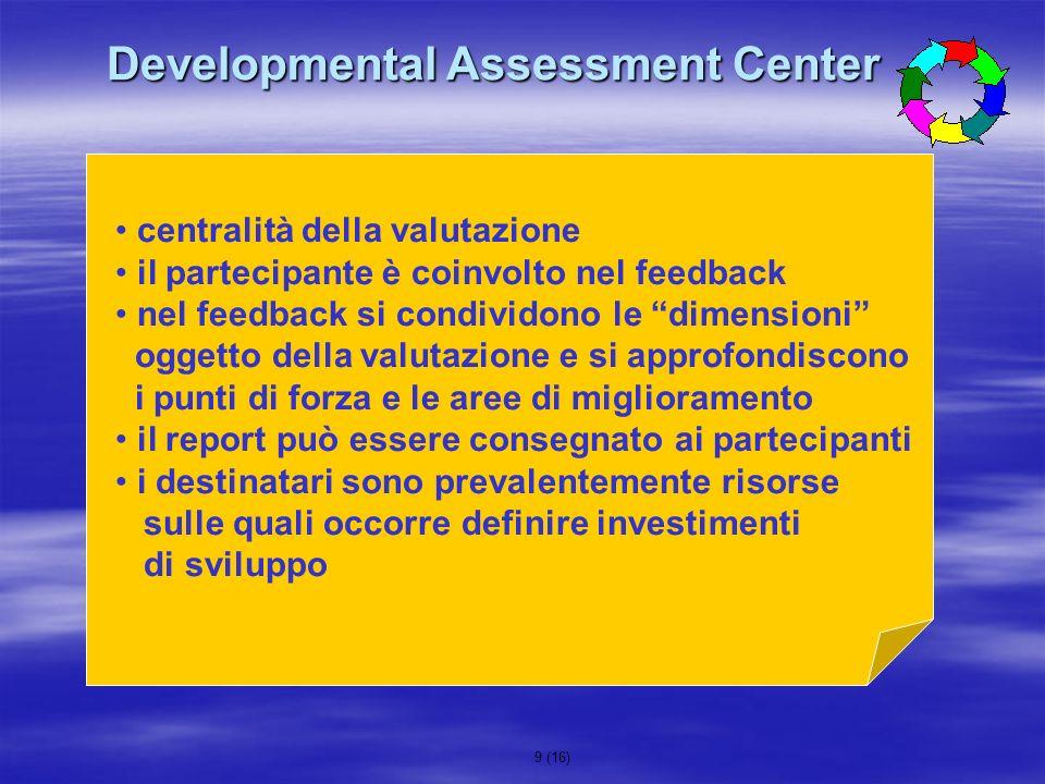 9 (16) Developmental Assessment Center centralità della valutazione il partecipante è coinvolto nel feedback nel feedback si condividono le dimensioni