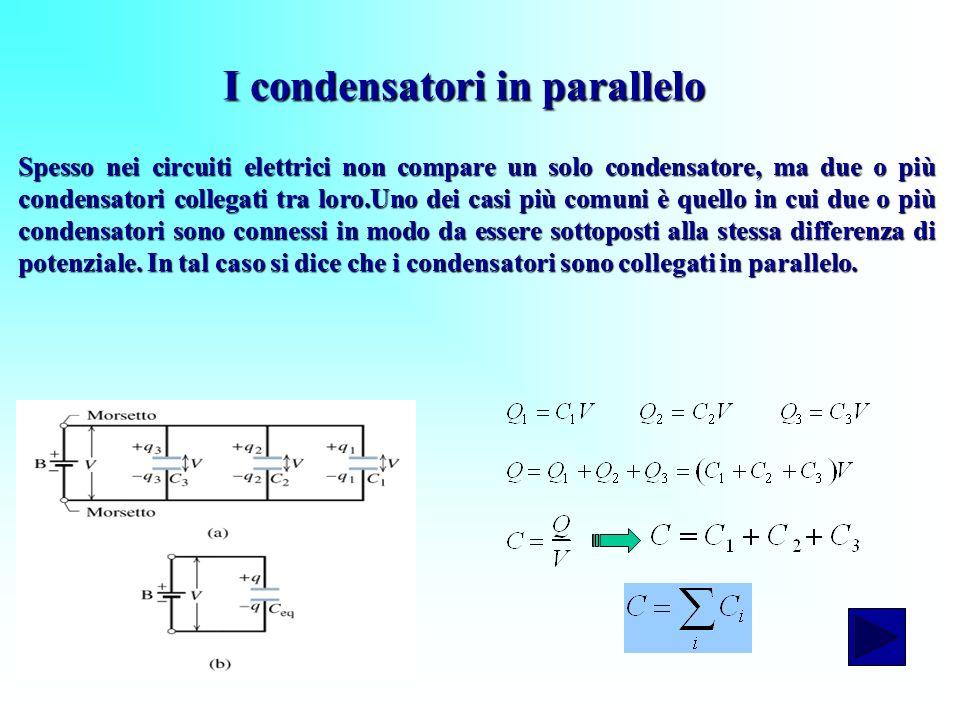 I condensatori in parallelo Spesso nei circuiti elettrici non compare un solo condensatore, ma due o più condensatori collegati tra loro.Uno dei casi