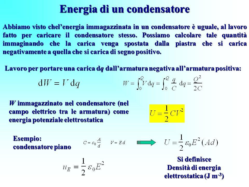 Energia di un condensatore Lavoro per portare una carica dq dallarmatura negativa allarmatura positiva: W immagazzinato nel condensatore (nel campo el