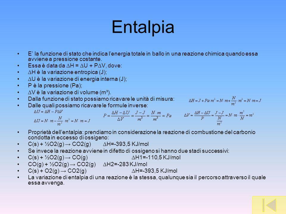 Entalpia E la funzione di stato che indica lenergia totale in ballo in una reazione chimica quando essa avviene a pressione costante. Essa è data da H